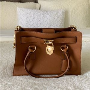 MICHAEL KORS Brown Leather Hamilton Satchel